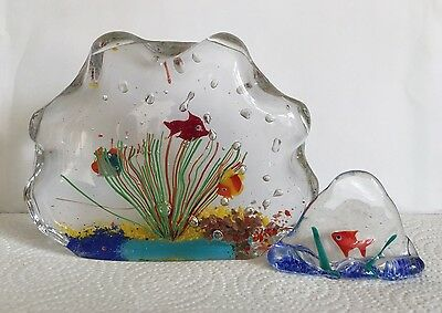 Vintage Murano Lot 2 Art Glass Aquarium Sculptures Paperweight FISH Excellent!