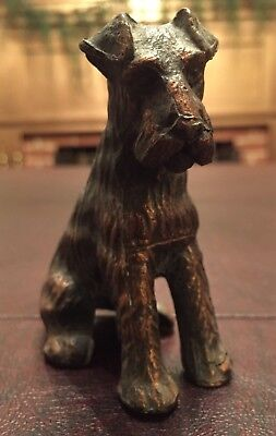 Antique Vintage Cast Iron Metal Copper Finish Airedale Terrier Dog Figurine