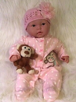 "Berenguer ""Lots to Cuddle"" Baby Girl Doll~20""~2 Teeth~2 Outfits~Too Cute!"