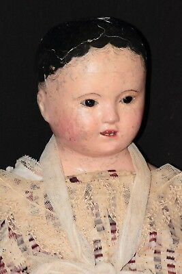 """27"""" french ANDREAS VOIT Antique Doll with black pupiless glass eyes papier-mache"""