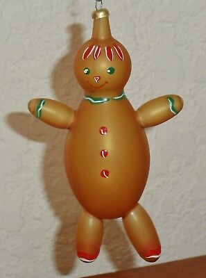 Vintage Blown Glass Hand Painted GINGERBREAD MAN Christmas Ornament Italy