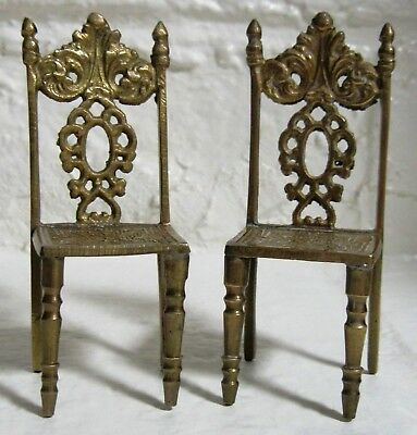 """Set Of 2 Small Antique Brass Chairs 4 3/4""""h X 2""""d X 2""""w Ornate Detailed"""