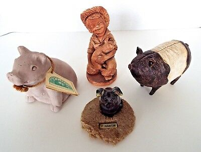 4 Pig Figurines J.H. Wilson 1976 Zoo Doo Dung St. Augustine Glass Paperweight