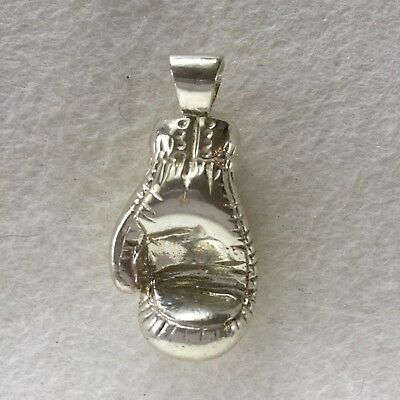 Large HEAVY BOXING GLOVE -  SOLID 925 sterling silver pendant keyring