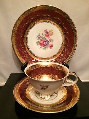 Beautiful Vintage Red&Gold Trio Moschendorf Bavaria Germany Cup, Saucer, Plate