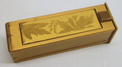 Vintage 1940s Elgin American Brass Floral Motif LIPSTICK HOLDER WITH MIRROR