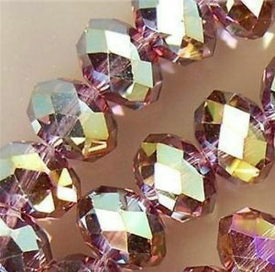 Wholesale  6*8mm 70pc Faceted Purple Crystal Loose Beads  DIY jewelry