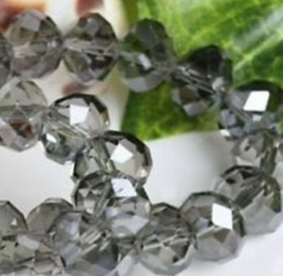 Wholesale 6*8mm 70pc Faceted Gray Crystal Loose Beads DIY jewelry