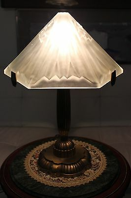 Vintage French Frosted Glass Lamp - Made In France
