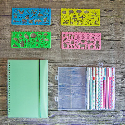 Bullet Journal Starter Kit,1 Dot Grid Notebook 10 Color Pens 4 Template Stencils