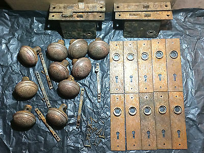 Antique Victorian Eastlake Brass Door Knobs Back Plates and Hardware
