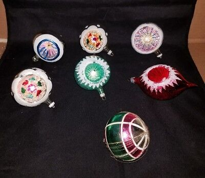 7 Antique Mercury Glass Glitter Recessed Christmas Ornaments W Germany & Italy