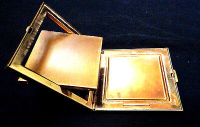 vintage 1940's compact,flip mirror brass and enamel