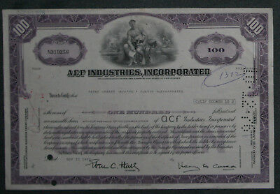 ACF Industries, Incorporation 1976 100 Shares .