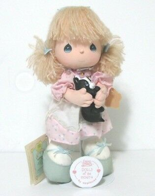 Doll of the Month Heaven Scent Girl Holding Skunk Precious Moments 1988 w/ Stand