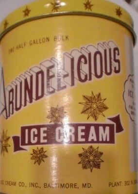 ARUNDEL Ice Cream 1/2 GALLON TIN CONTAINER Baltimore MD 302 N. Smallwood St