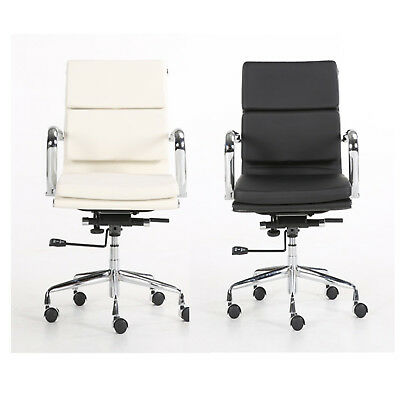 Eames Style PU Leather Padded Office Computer Chair Recline Hight Tilt Adjust