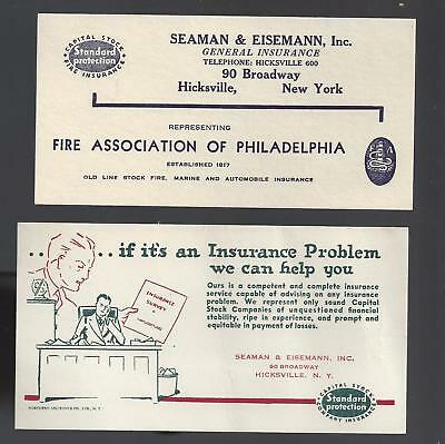 2 Hicksville N.Y. advertising ink blotters?/env inserts circa 1950's