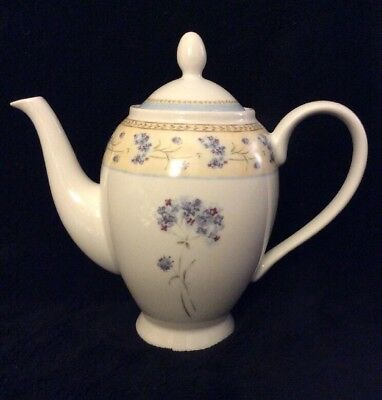 Enchanted Garden Heritage Mint Teapot Fine China Blue Floral Flowers Coffee Pot