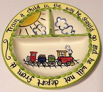 The Mustard Seed Hand Painted Proverbs Train Child's Plate Dish