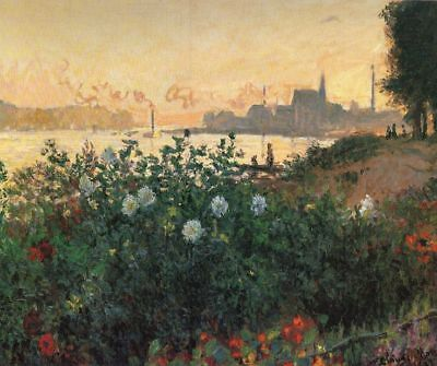 Flowered Riverbank, Argenteuil  by Claude Monet Giclee Print Repro on Canvas