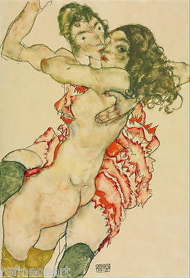 Two Women Embracing by Egon Schiele Giclee Canvas Print