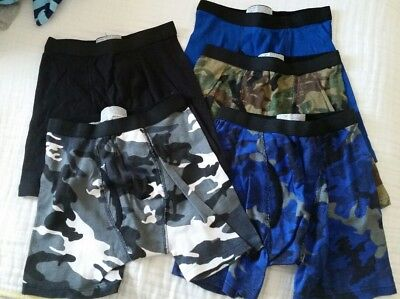 NWOT Faded glory boys underwear 5 pair camo solid youth large size 10-12