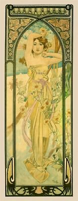 Alphonse Mucha Times of Day:Daytime Giclee Canvas Print
