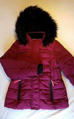 Girls M&S Padded Jacket Coat with Faux Fur Hood 9-10yrs