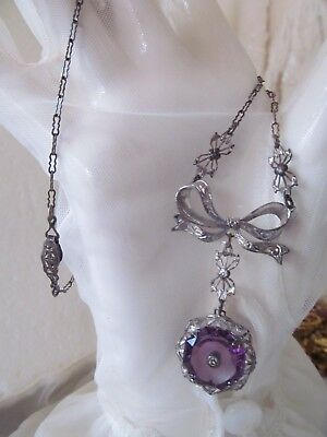 Antique Sterling Silver Amethyst Purple Glass Bow Lavalier Pendant Necklace