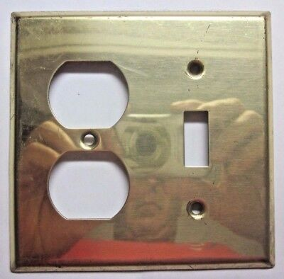 Vintage retro shiny bright brass 2 gang switch outlet combo wall plate cover
