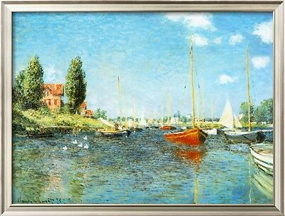 "Claude Monet  Red Boats Argenteuil Handmade Oil Painting repro 30""x40"""