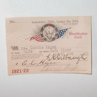 BPOE Elks Club Lancaster Ohio Membership Card 1922 Lodge 570