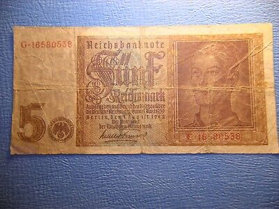 Germany 5 Reichsmark Banknote 1942
