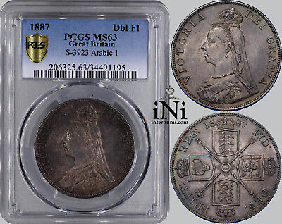 iNi  Great Britain, Victoria, Double Florin, 1887, Arabic I, Toned, PCGS MS 63
