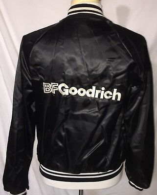 BF1 Vtg B F Goodrich Patch Embroidered Satin Jacket Aircraft Wheels Brakes S/M