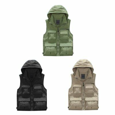 Men Autumn Winter Thickened Fishing Vest Multi-pocket Photography Hooded Vest SF