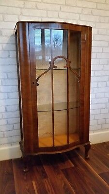 antique 1930s art deco walnut glass display cabinet retro antique