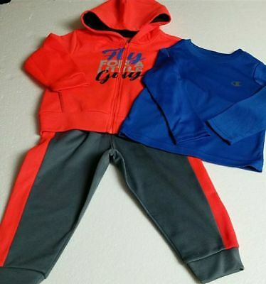 Boys Champion Athletic 3 Pc Performance Hooded Jacket Pant Shirt Sweat Pant  2T