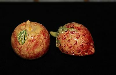 Apple and Strawberry Salt & Pepper Shakers Hand Made Atzompa Mexican Folk Art