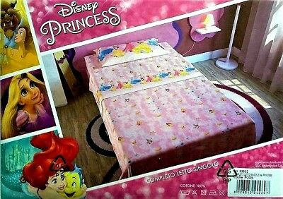 COMPLETO letto SINGOLO cartoons, Princess, Cars, Frozen, by Disney, 100% cotone