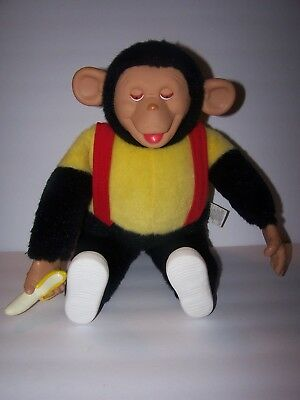 "Vintage 18"" Bizzy monkey with banana. Great condition. Clean. Green trading Co."