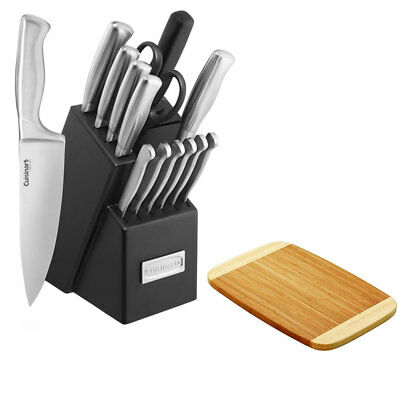 Cuisinart 15pc Steel Hollow Handle Cutlery Block Set w/Premium Cutting Board