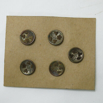 5 Vintage  Metal Perfume Flowers Victorian Buttons   Carded