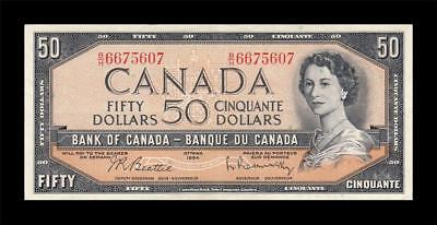 1954 BANK OF CANADA QEII $50 **Beattie & Rasminsky** (( EF+ ))
