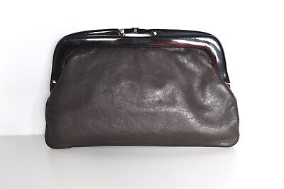 Vintage Clutch Brown Leather Chunky Plastic Clasp Made in Italy Evening Wear