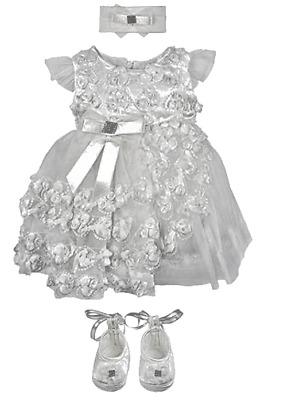 Baby Girls Christening Baptism Rosebud Dress Gown 5 Piece Deluxe Set  0-3 Months