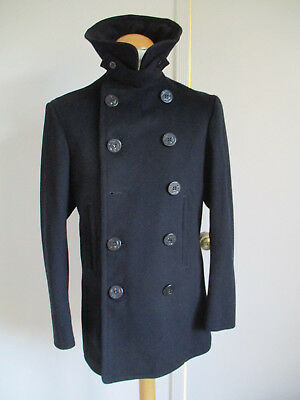 VTG U.S. Navy Naval Clothing Factory Pea Coat WWll - cord pocket- chin strap 38
