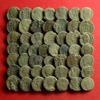 Lot of 50 AE4 Size Ancient Roman Bronze Coins