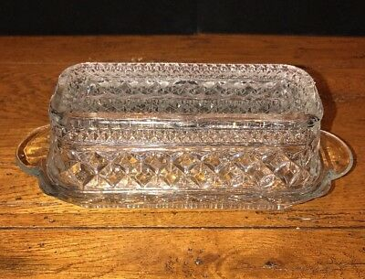 Vintage Anchor Hocking Clear Pressed Glass WEXFORD Butter Dish with Lid